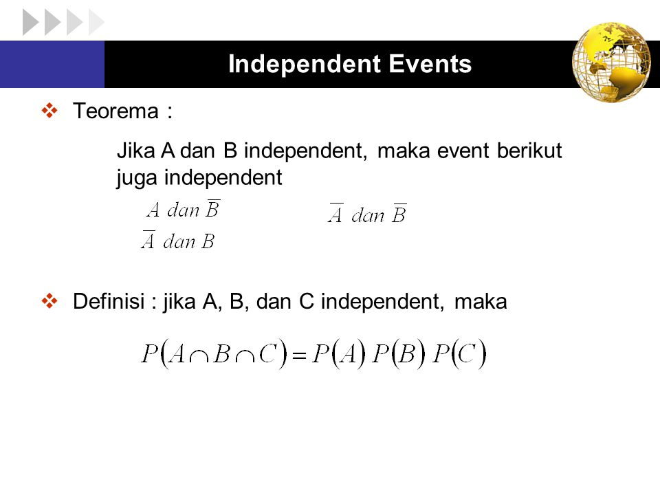 Independent Events Teorema :