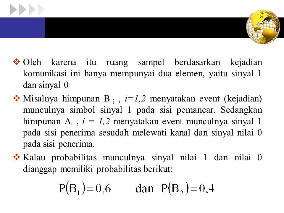 Oleh karena itu ruang sampel berdasarkan kejadian komunikasi ini hanya mempunyai dua elemen, yaitu sinyal 1 dan sinyal 0