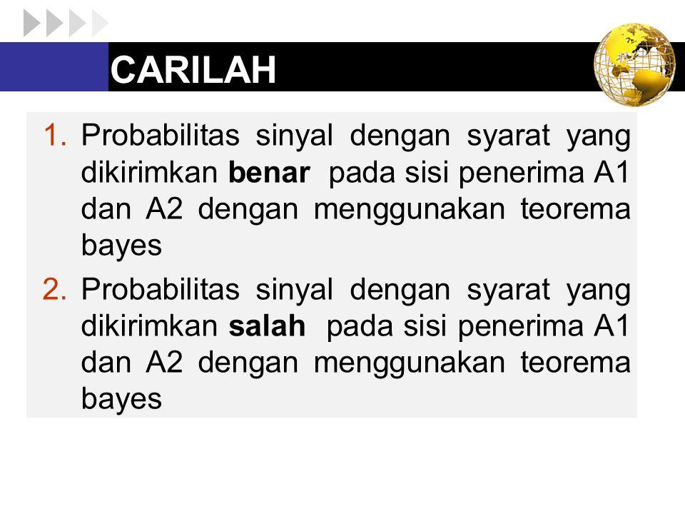 CARILAH Probabilitas sinyal dengan syarat yang dikirimkan benar pada sisi penerima A1 dan A2 dengan menggunakan teorema bayes.