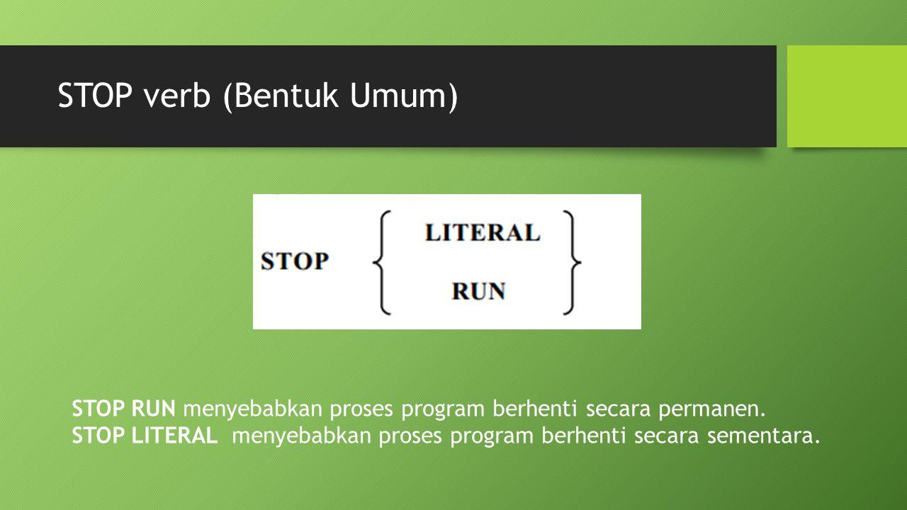 STOP verb (Bentuk Umum)