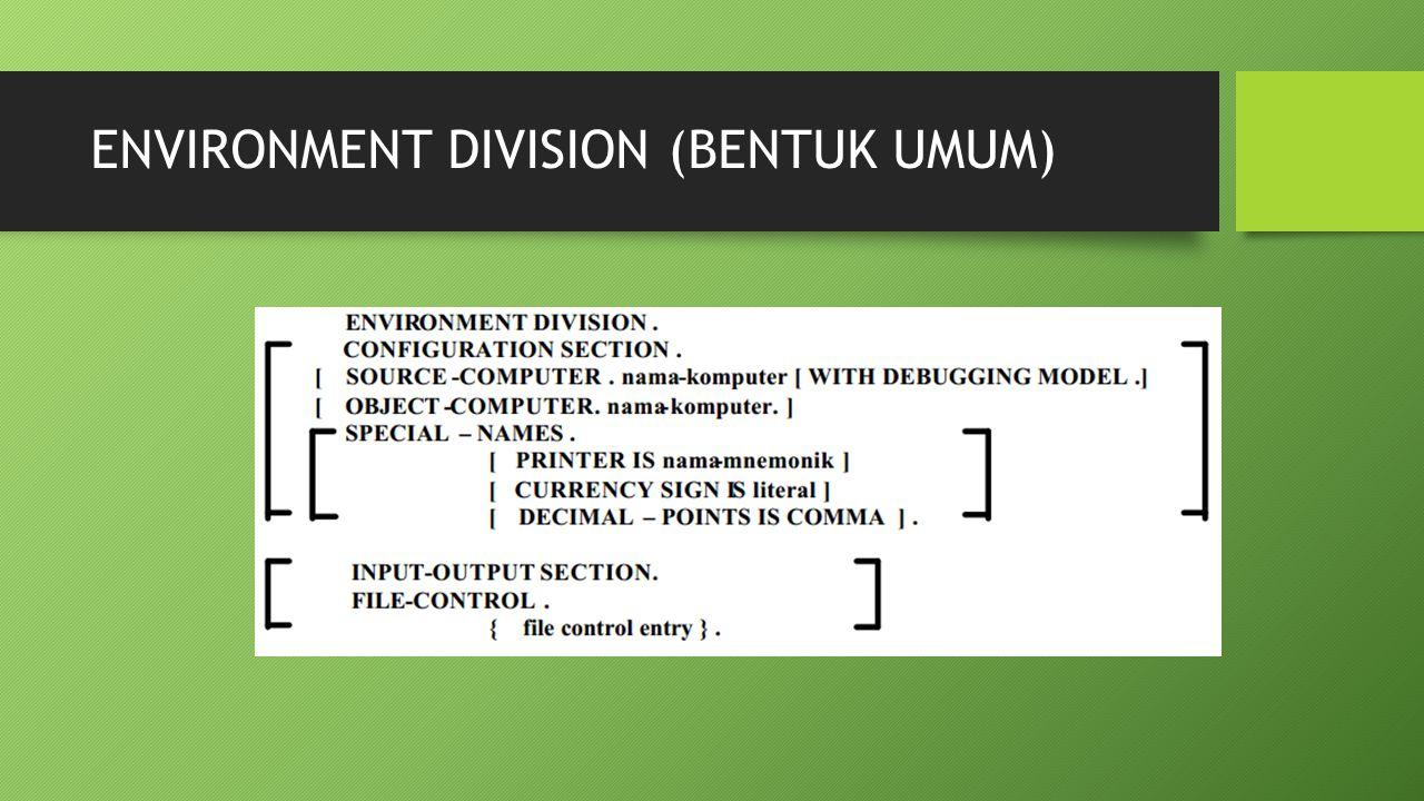 ENVIRONMENT DIVISION (BENTUK UMUM)