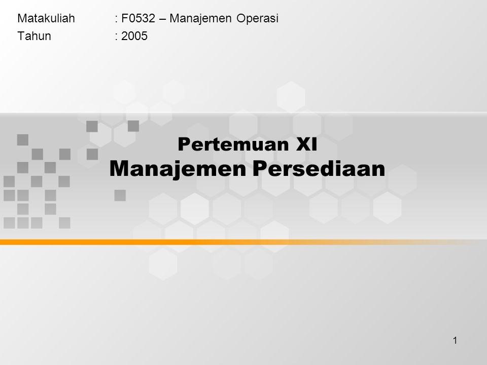 Pertemuan XI Manajemen Persediaan