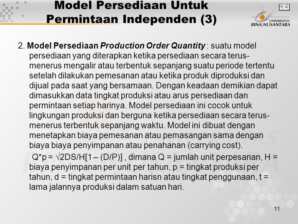 Model Persediaan Untuk Permintaan Independen (3)