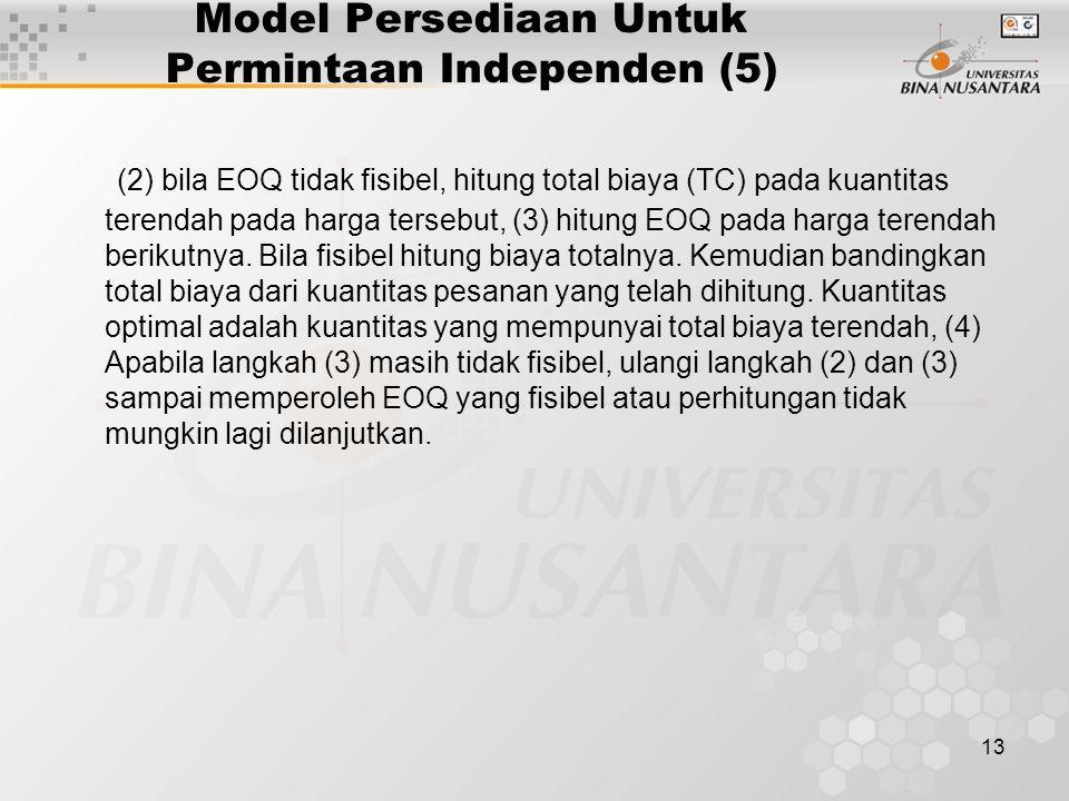 Model Persediaan Untuk Permintaan Independen (5)