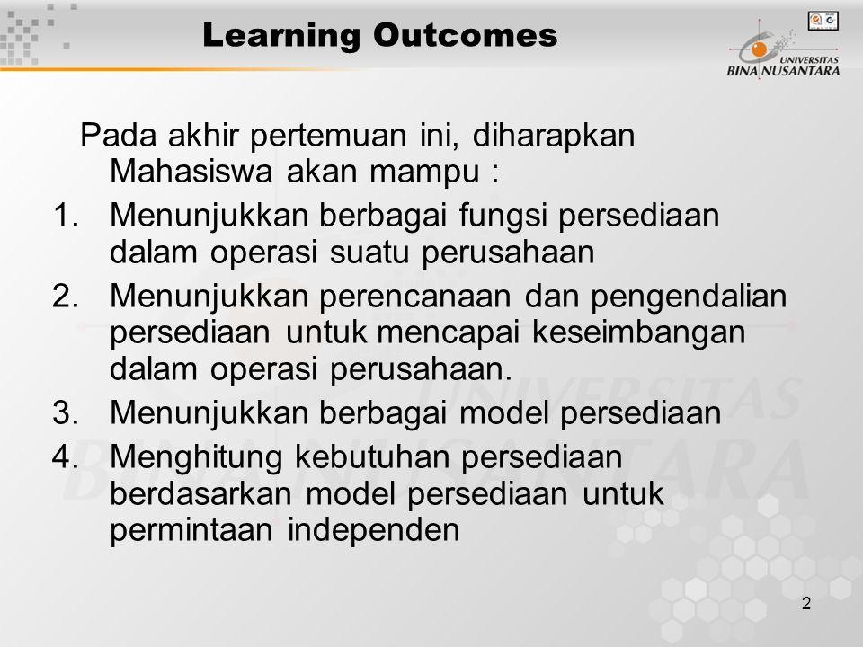 Learning Outcomes Pada akhir pertemuan ini, diharapkan Mahasiswa akan mampu : Menunjukkan berbagai fungsi persediaan dalam operasi suatu perusahaan.