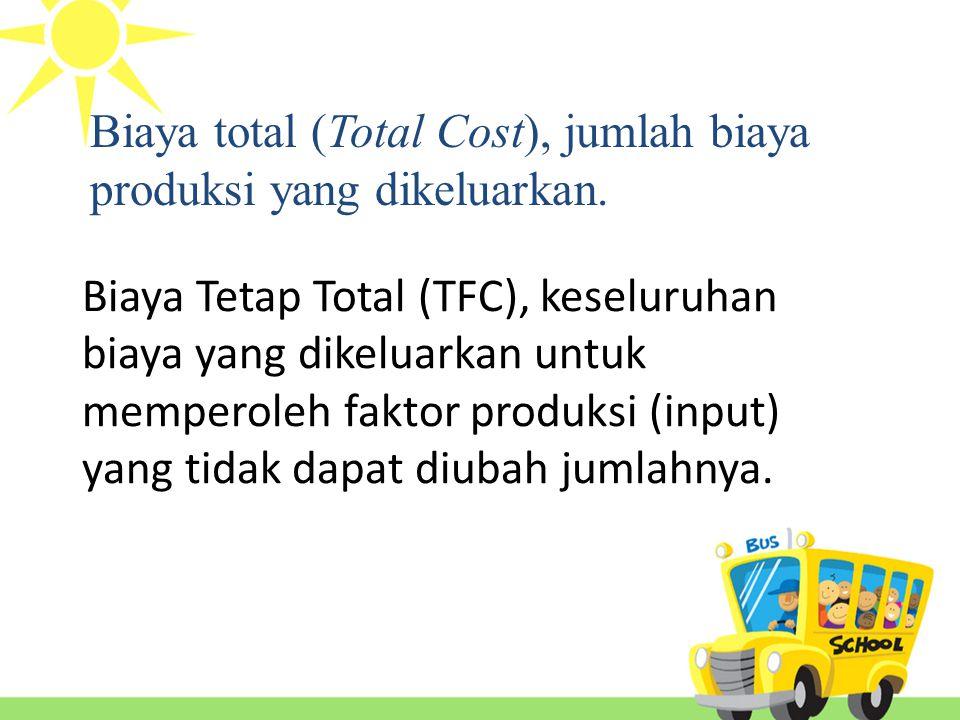 Biaya Tetap Total (TFC), keseluruhan biaya yang dikeluarkan untuk memperoleh faktor produksi (input) yang tidak dapat diubah jumlahnya.