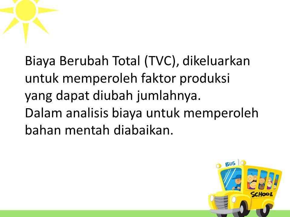 Biaya Berubah Total (TVC), dikeluarkan untuk memperoleh faktor produksi yang dapat diubah jumlahnya.