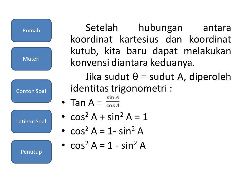 Jika sudut θ = sudut A, diperoleh identitas trigonometri : Tan A =