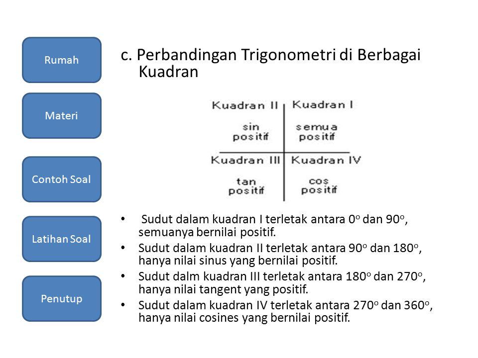 c. Perbandingan Trigonometri di Berbagai Kuadran