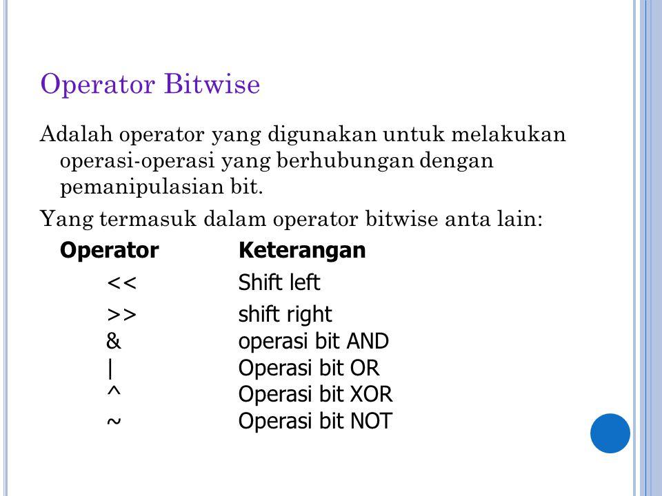 Operator Bitwise Adalah operator yang digunakan untuk melakukan operasi-operasi yang berhubungan dengan pemanipulasian bit.