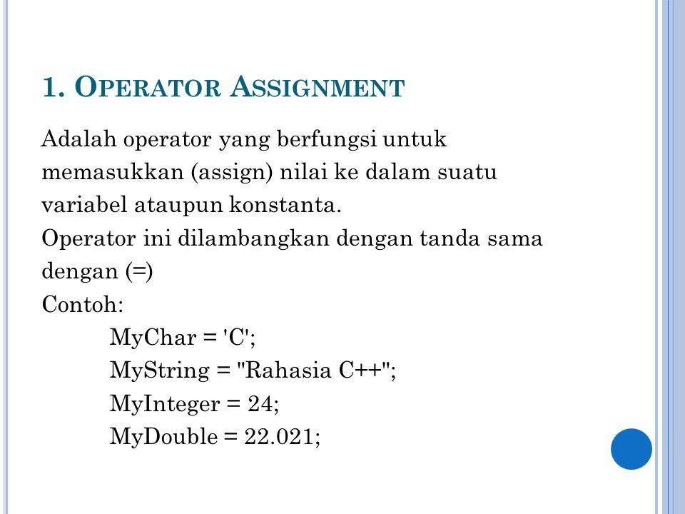 1. Operator Assignment Adalah operator yang berfungsi untuk