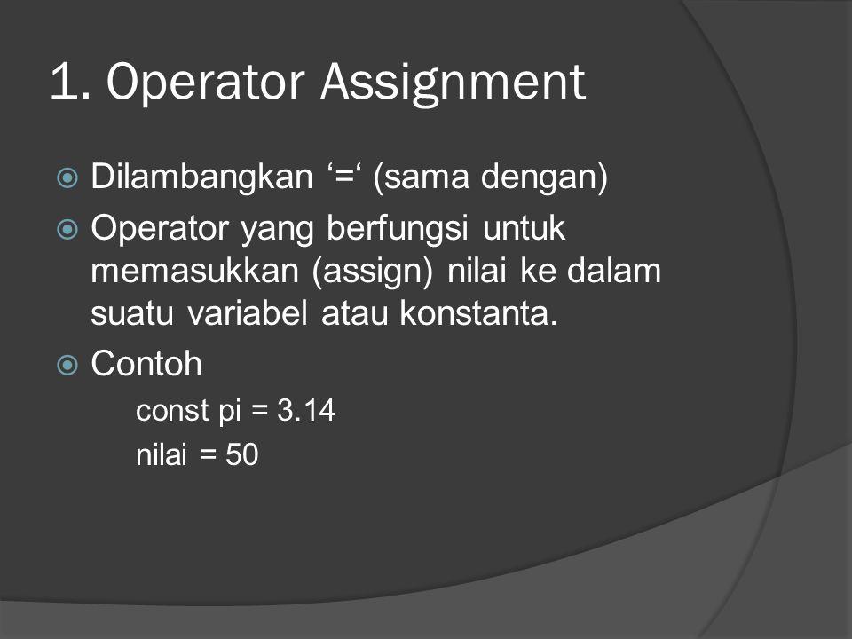 1. Operator Assignment Dilambangkan '=' (sama dengan)
