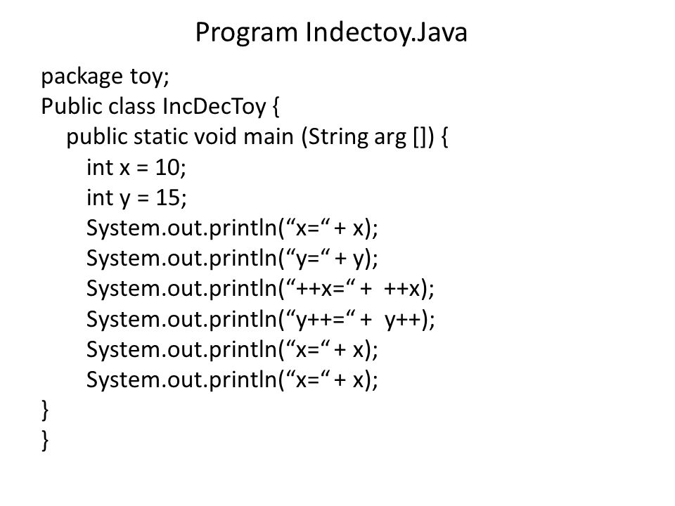 Program Indectoy.Java