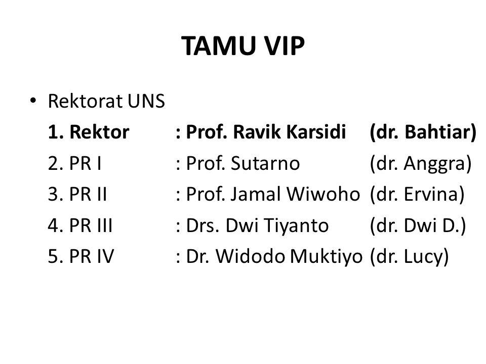 TAMU VIP Rektorat UNS 1. Rektor : Prof. Ravik Karsidi (dr. Bahtiar)