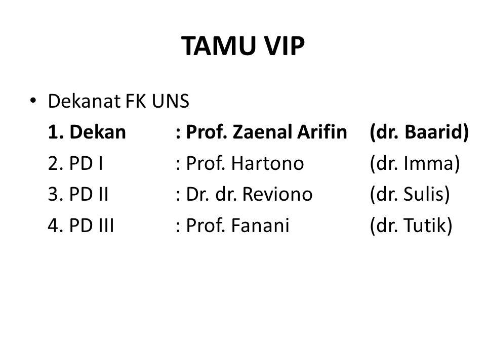 TAMU VIP Dekanat FK UNS 1. Dekan : Prof. Zaenal Arifin (dr. Baarid)