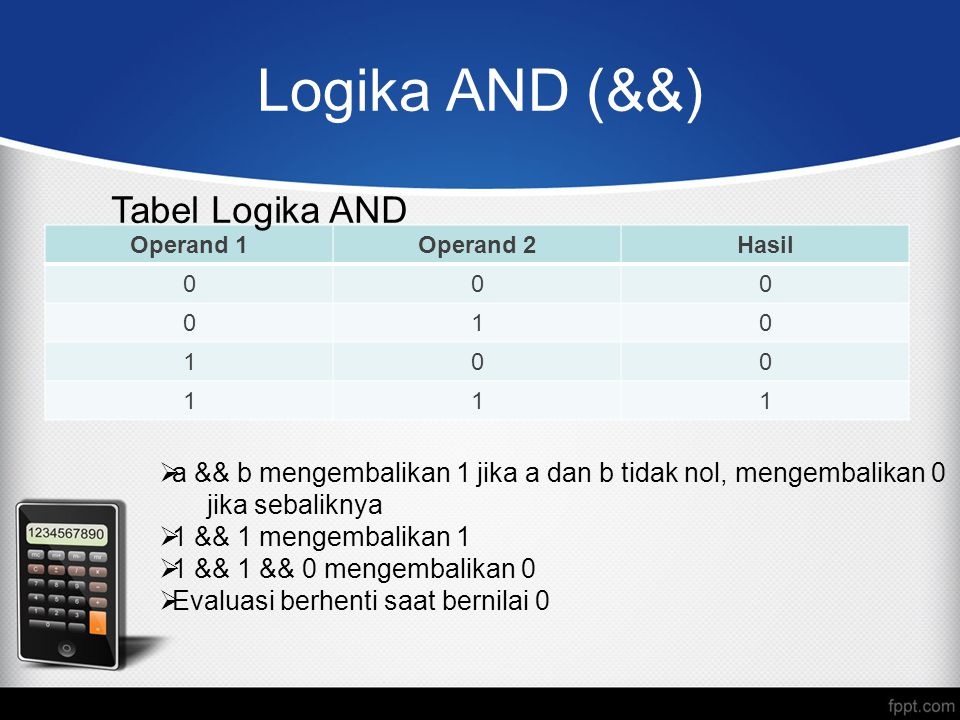 Logika AND (&&) Tabel Logika AND