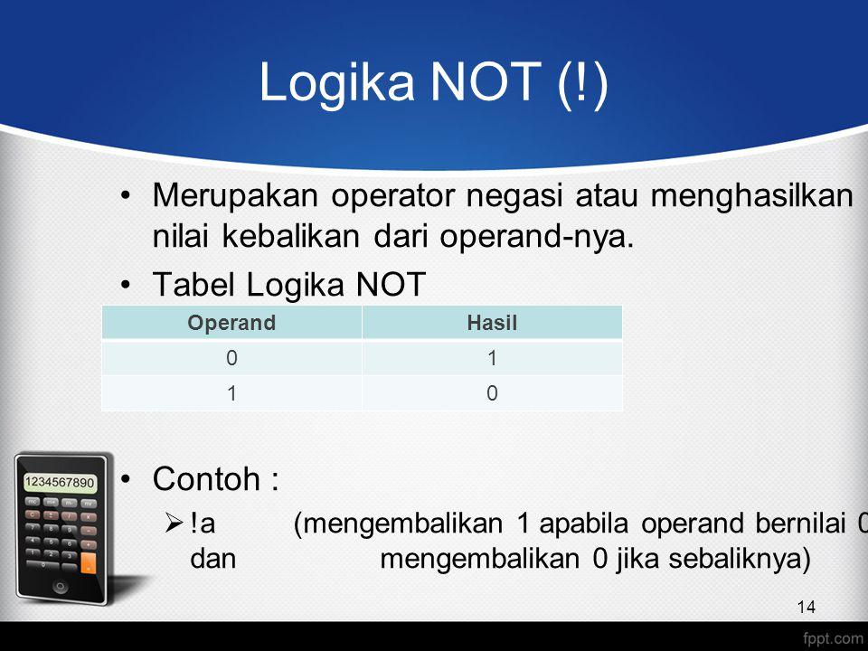 Logika NOT (!) Merupakan operator negasi atau menghasilkan nilai kebalikan dari operand-nya. Tabel Logika NOT.