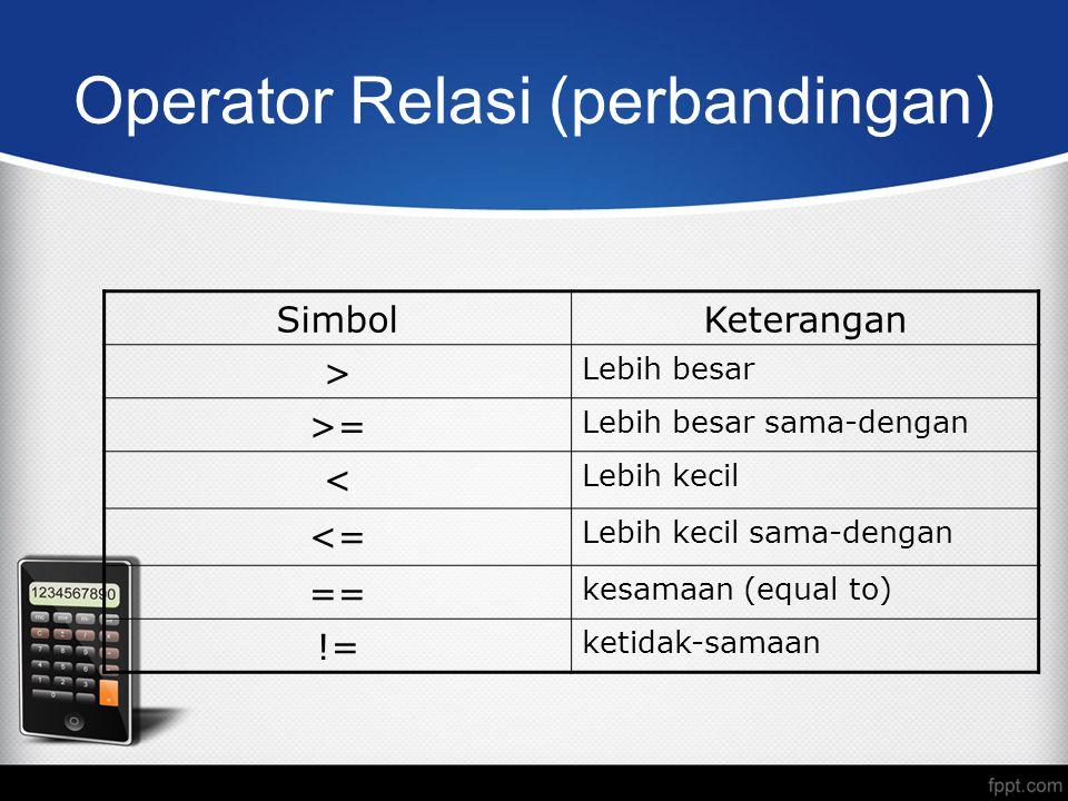 Operator Relasi (perbandingan)