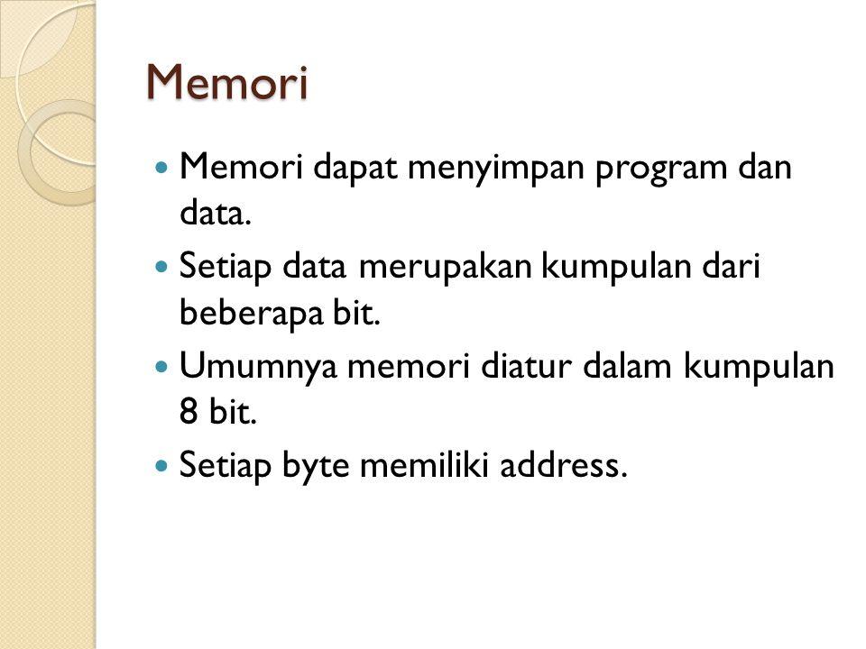 Memori Memori dapat menyimpan program dan data.