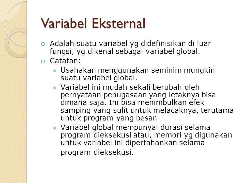 Variabel Eksternal Adalah suatu variabel yg didefinisikan di luar fungsi, yg dikenal sebagai variabel global.