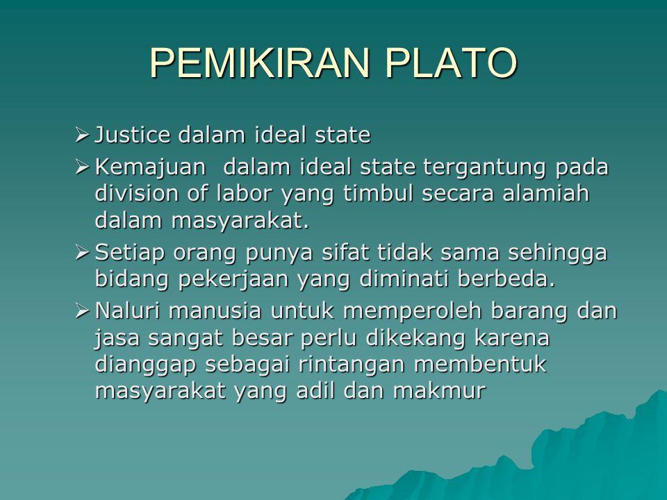 PEMIKIRAN PLATO Justice dalam ideal state