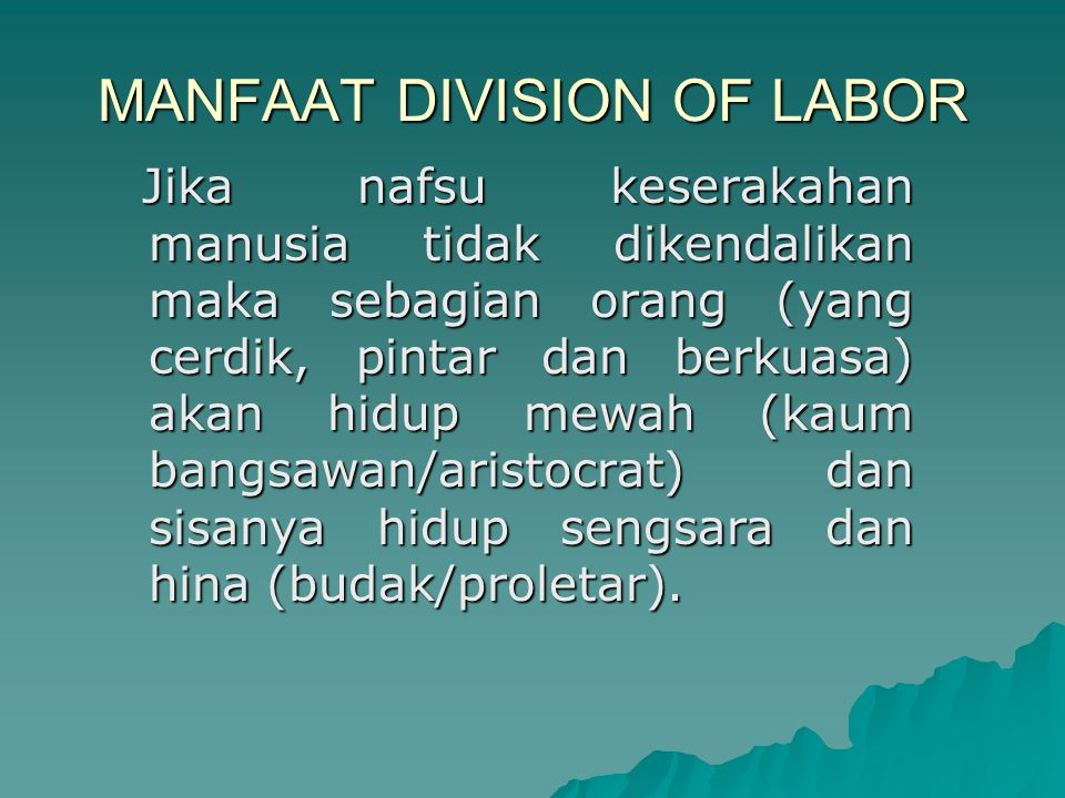 MANFAAT DIVISION OF LABOR