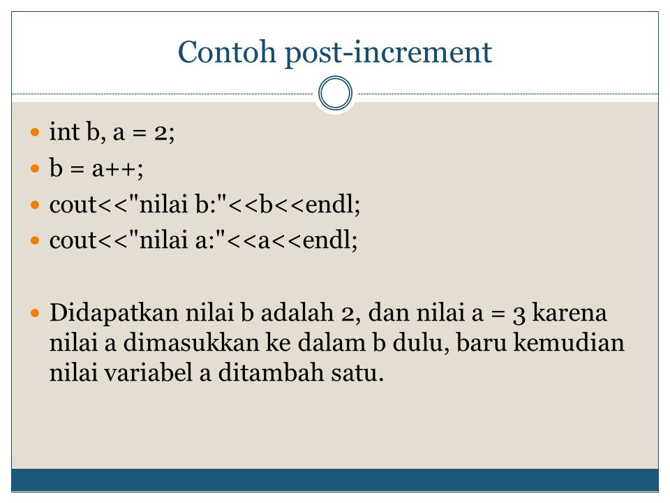 Contoh post-increment