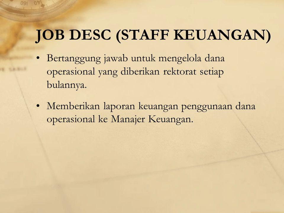 JOB DESC (STAFF KEUANGAN)