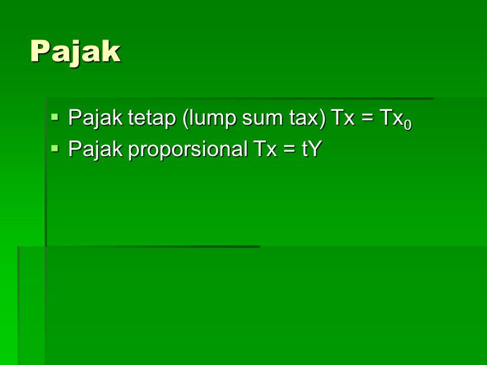 Pajak Pajak tetap (lump sum tax) Tx = Tx0 Pajak proporsional Tx = tY