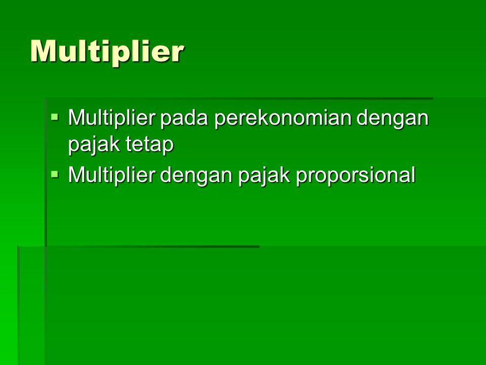 Multiplier Multiplier pada perekonomian dengan pajak tetap
