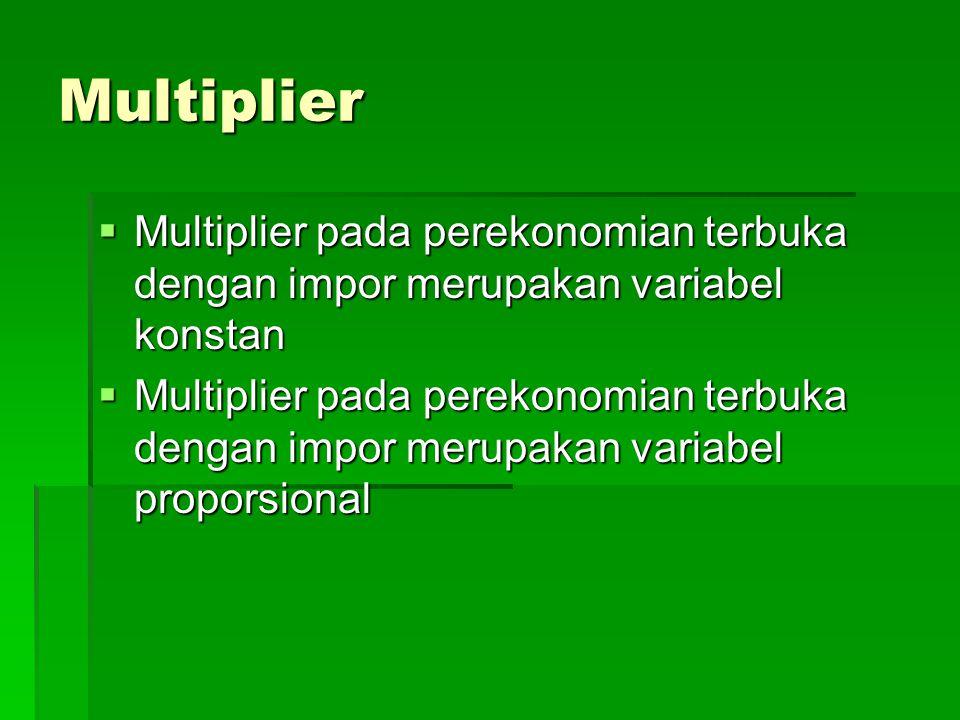 Multiplier Multiplier pada perekonomian terbuka dengan impor merupakan variabel konstan.