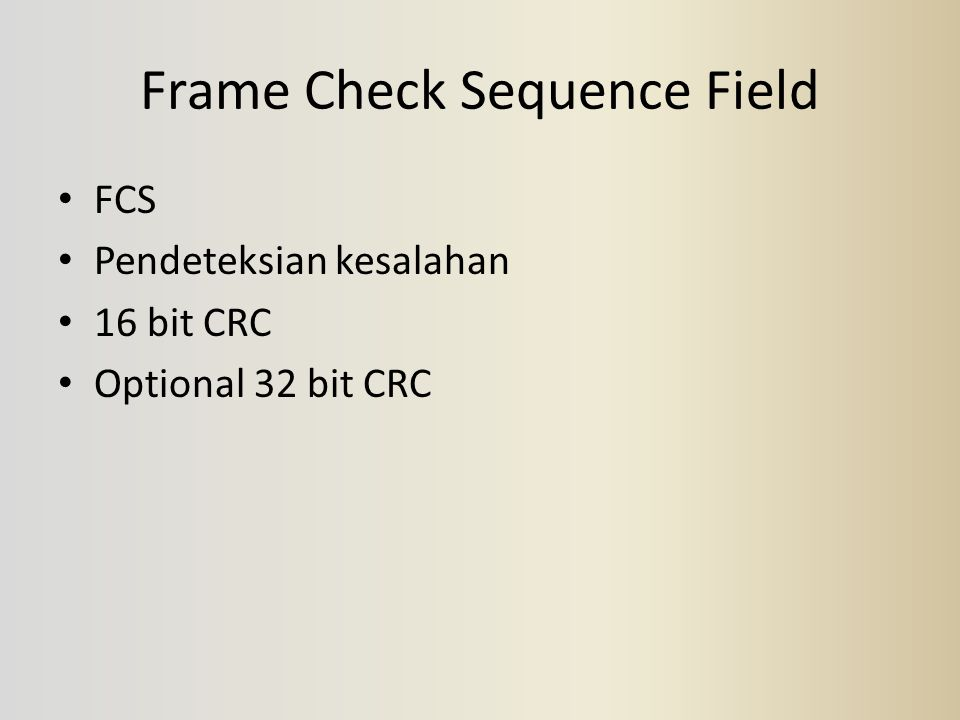 Frame Check Sequence Field