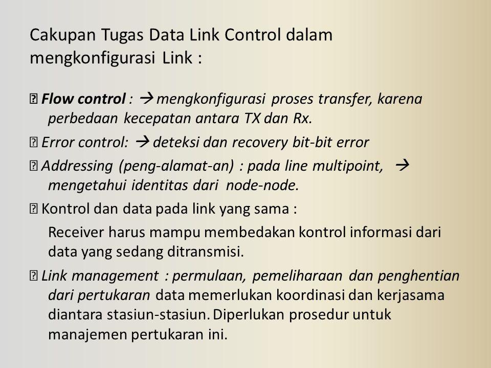 Cakupan Tugas Data Link Control dalam mengkonfigurasi Link :