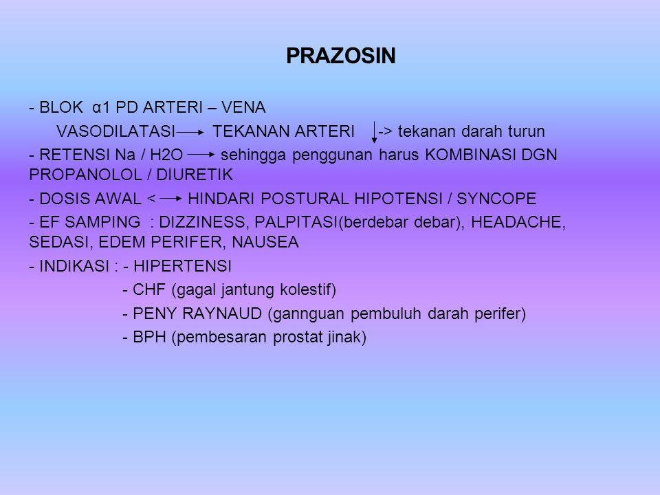 PRAZOSIN BLOK α1 PD ARTERI – VENA