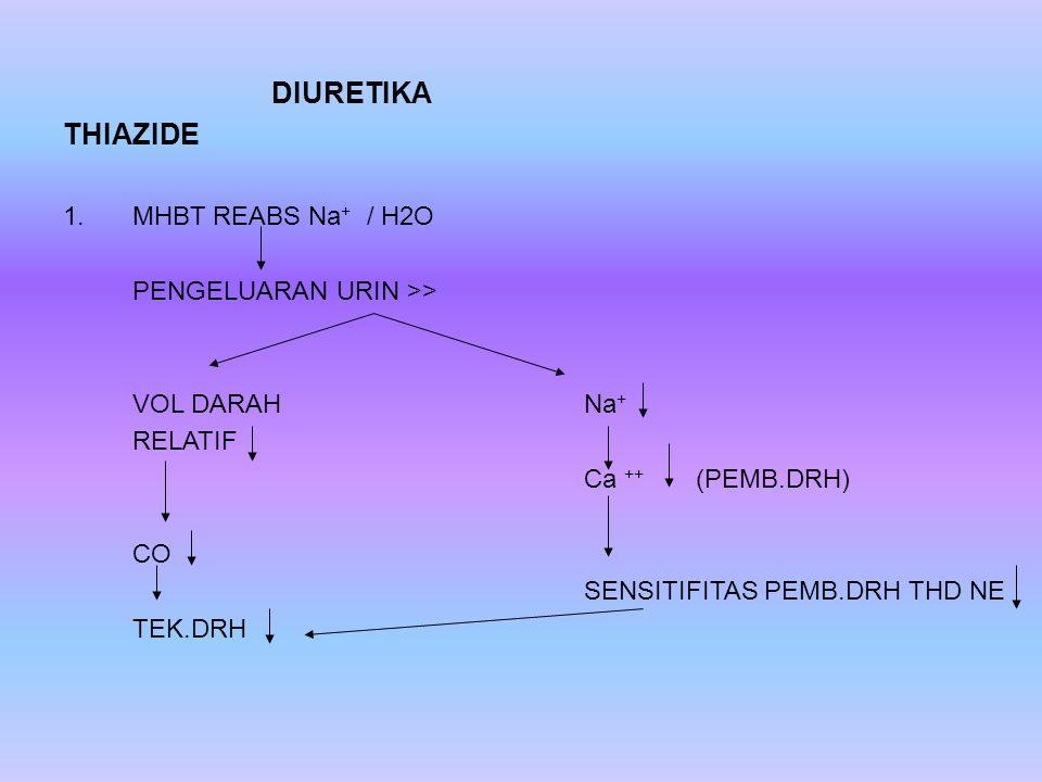 THIAZIDE DIURETIKA MHBT REABS Na+ / H2O PENGELUARAN URIN >>