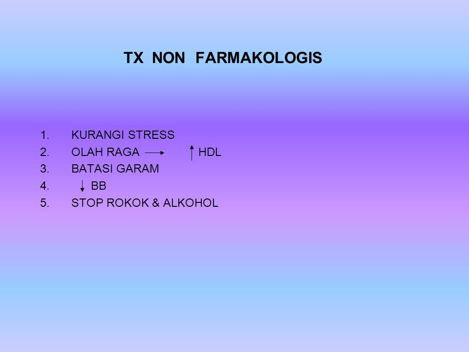 KURANGI STRESS OLAH RAGA HDL BATASI GARAM BB STOP ROKOK & ALKOHOL