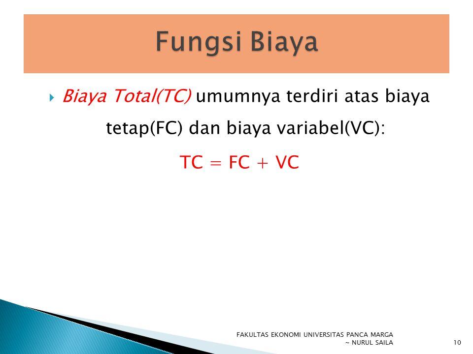 Fungsi Biaya Biaya Total(TC) umumnya terdiri atas biaya tetap(FC) dan biaya variabel(VC): TC = FC + VC.