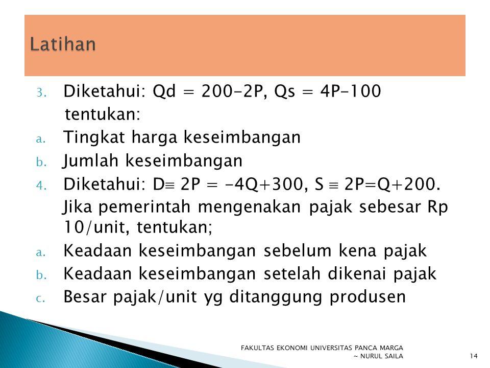 Latihan Diketahui: Qd = 200-2P, Qs = 4P-100 tentukan:
