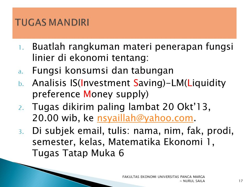 Buatlah rangkuman materi penerapan fungsi linier di ekonomi tentang: