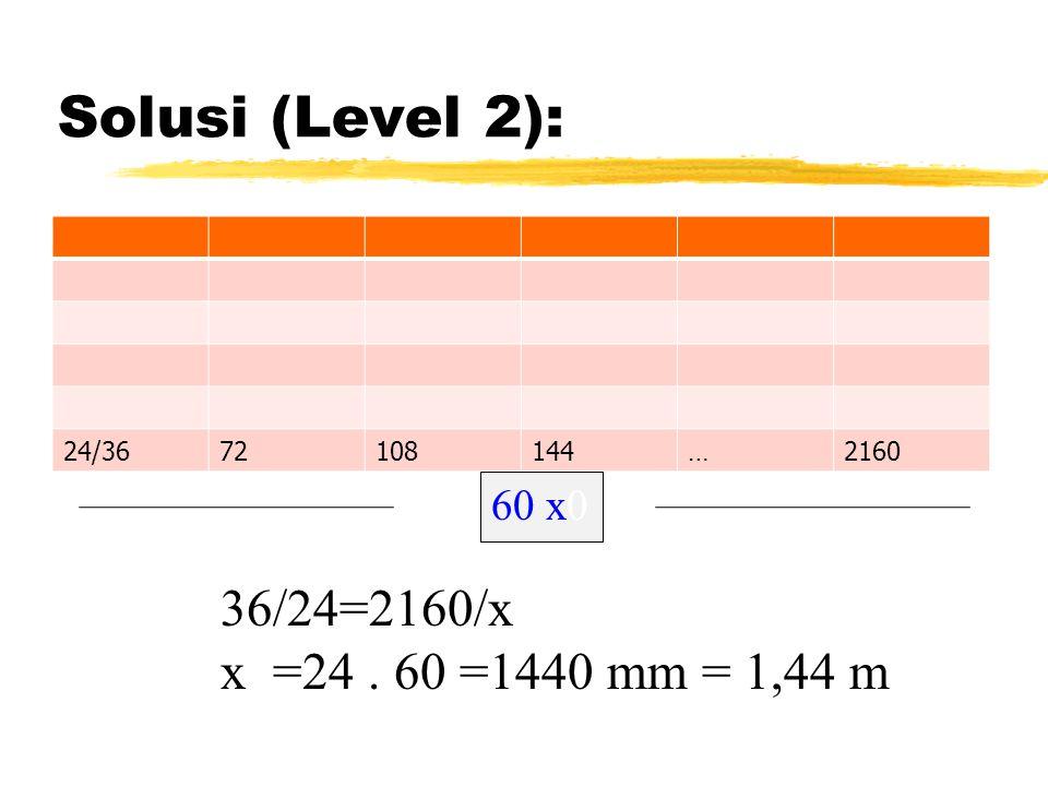 Solusi (Level 2): 36/24=2160/x x =24 . 60 =1440 mm = 1,44 m 60 x0