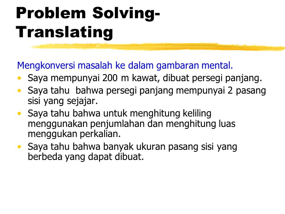 Problem Solving-Translating