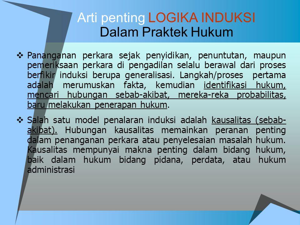 Arti penting LOGIKA INDUKSI Dalam Praktek Hukum