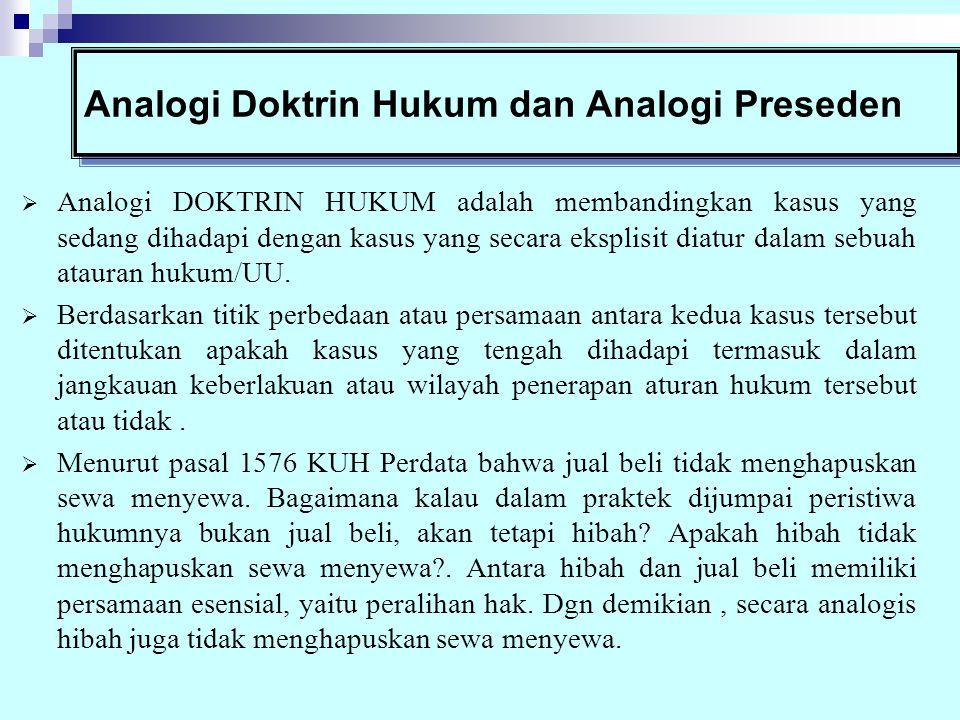 Analogi Doktrin Hukum dan Analogi Preseden