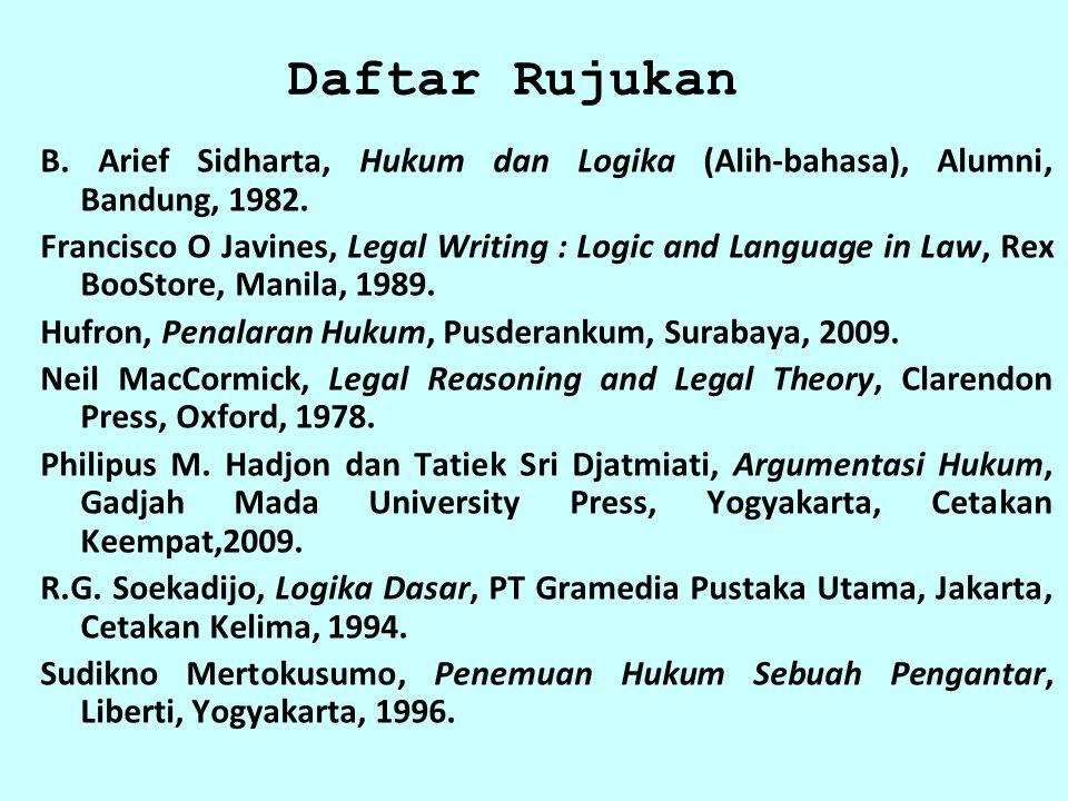Daftar Rujukan B. Arief Sidharta, Hukum dan Logika (Alih-bahasa), Alumni, Bandung, 1982.