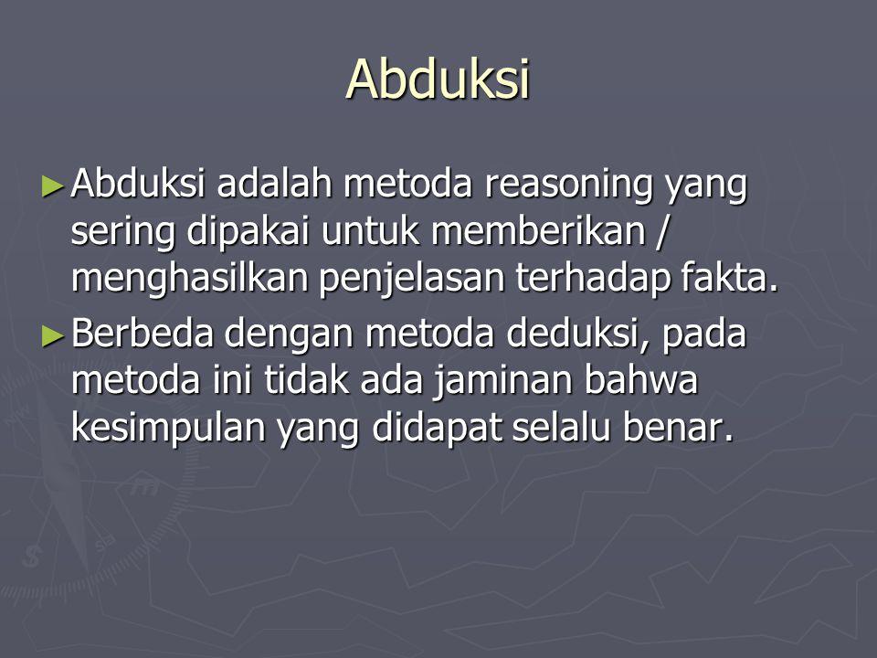 Abduksi Abduksi adalah metoda reasoning yang sering dipakai untuk memberikan / menghasilkan penjelasan terhadap fakta.