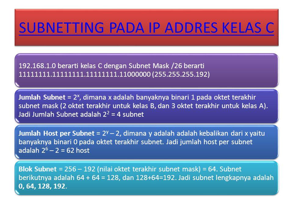 SUBNETTING PADA IP ADDRES KELAS C