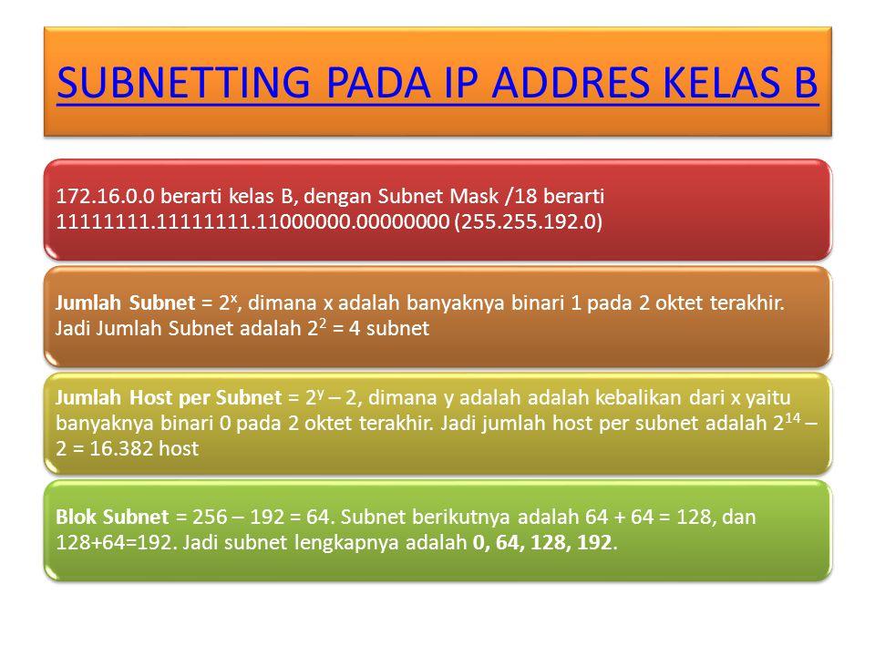 SUBNETTING PADA IP ADDRES KELAS B