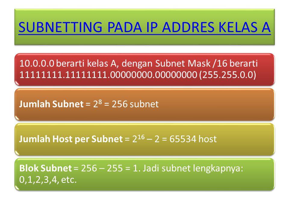 SUBNETTING PADA IP ADDRES KELAS A