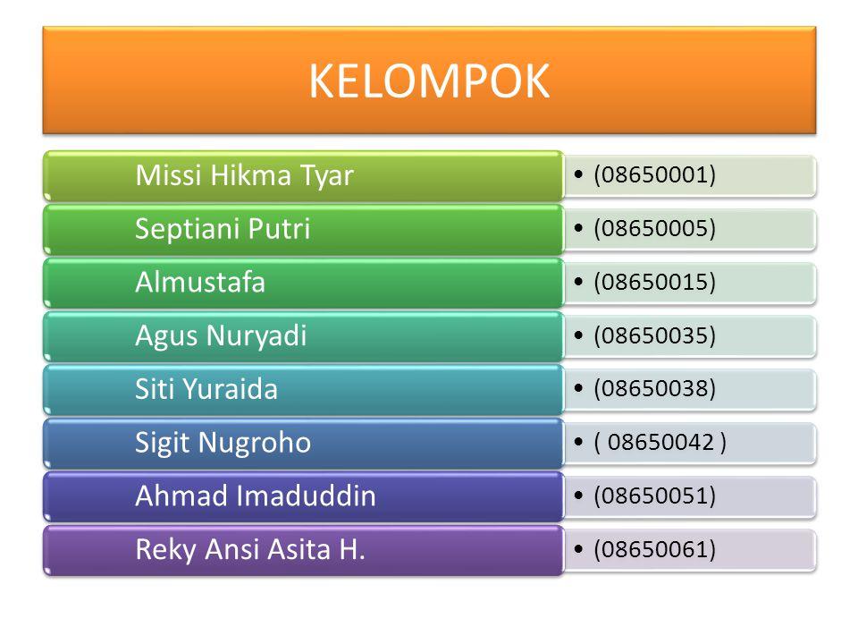 KELOMPOK Missi Hikma Tyar (08650001) Septiani Putri (08650005)