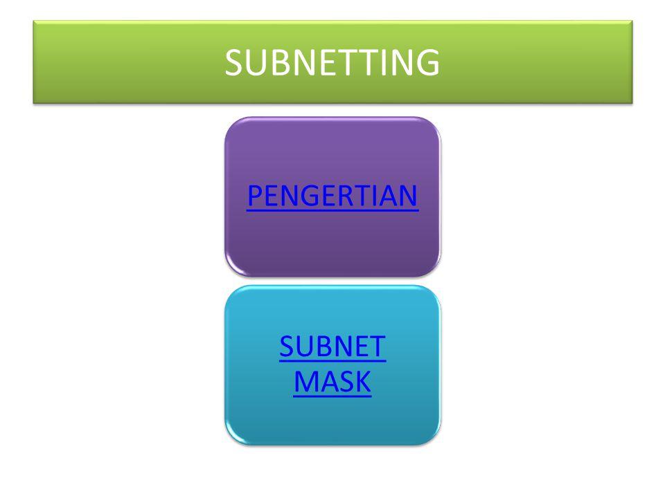 SUBNETTING PENGERTIAN SUBNET MASK